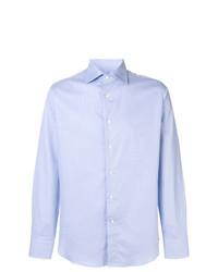 Мужская голубая рубашка с длинным рукавом от Canali