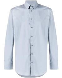 Мужская голубая рубашка с длинным рукавом от Giorgio Armani