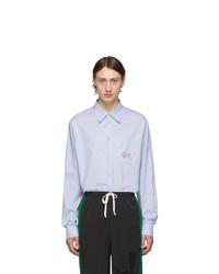 Мужская голубая рубашка с длинным рукавом от Gucci