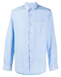 Мужская голубая рубашка с длинным рукавом от Officine Generale