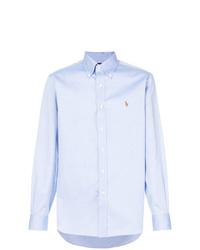 aed778e6302 Купить мужскую голубую рубашку с длинным рукавом Polo Ralph Lauren ...