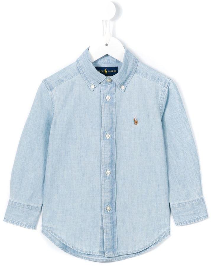 Детская голубая рубашка с длинным рукавом для мальчику от Ralph Lauren