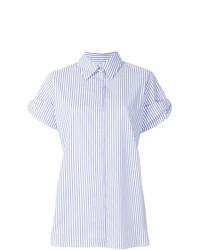 Голубая рубашка с коротким рукавом в вертикальную полоску