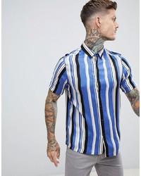 Мужская голубая рубашка с коротким рукавом в вертикальную полоску от ASOS DESIGN