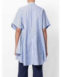 Женская голубая рубашка с коротким рукавом в вертикальную полоску от Henrik Vibskov