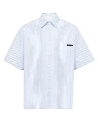 Мужская голубая рубашка с коротким рукавом в вертикальную полоску от Prada