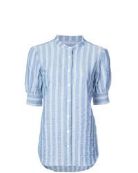 Женская голубая рубашка с коротким рукавом в вертикальную полоску от Veronica Beard