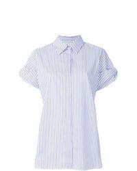 Женская голубая рубашка с коротким рукавом в вертикальную полоску от Victoria Victoria Beckham