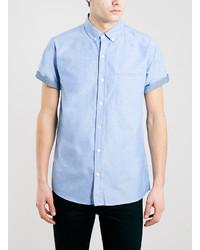 Голубая рубашка с коротким рукавом из шамбре
