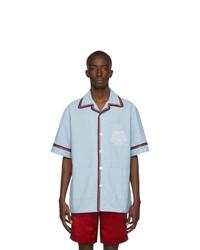 Мужская голубая рубашка с коротким рукавом из шамбре от Gucci