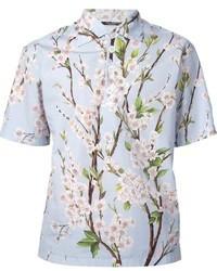 Голубая рубашка с коротким рукавом с принтом