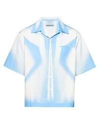 Мужская голубая рубашка с коротким рукавом с принтом от Prada