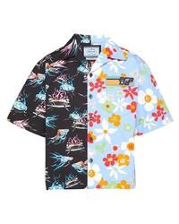 Мужская голубая рубашка с коротким рукавом с цветочным принтом от Prada