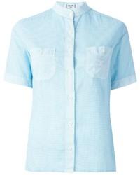 Женская голубая рубашка с коротким рукавом