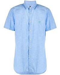 Мужская голубая рубашка с коротким рукавом от BOSS