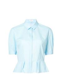 Женская голубая рубашка с коротким рукавом от DELPOZO