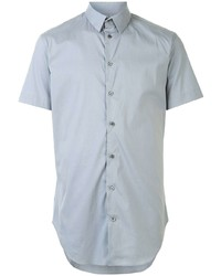 Мужская голубая рубашка с коротким рукавом от Giorgio Armani