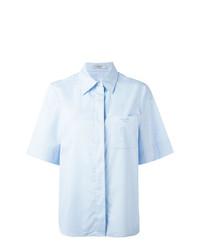 Женская голубая рубашка с коротким рукавом от Lanvin