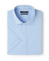 Мужская голубая рубашка с коротким рукавом от Mango Man