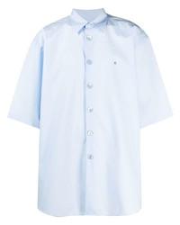 Мужская голубая рубашка с коротким рукавом от Raf Simons