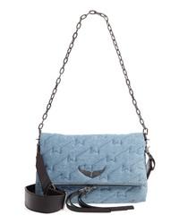 Голубая сумка-саквояж из плотной ткани