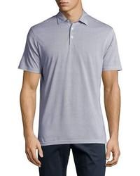 Голубая футболка-поло в горошек