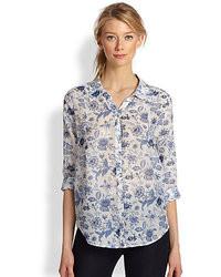 Голубая футболка с длинным рукавом с цветочным принтом