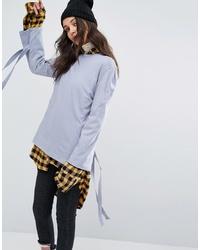 Женская голубая футболка с длинным рукавом от STYLE NANDA