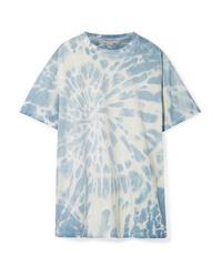 Голубая футболка с круглым вырезом с принтом тай-дай
