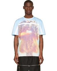 Голубая футболка с круглым вырезом с принтом