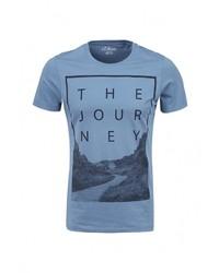 Мужская голубая футболка с круглым вырезом с принтом от s.Oliver Denim