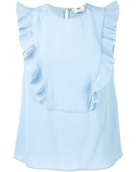 Женская голубая шелковая майка от Fendi