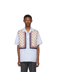Мужская голубая шелковая рубашка с коротким рукавом с принтом от Gucci
