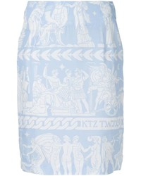 Голубая юбка-карандаш с принтом