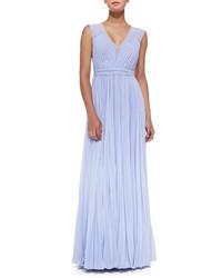 Голубое вечернее платье со складками