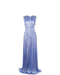 Женское голубое вечернее платье со складками от Maria Lucia Hohan
