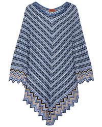 купить голубое вязаное пончо крючком модные модели пончо 1
