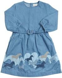 Голубое джинсовое платье