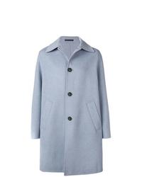 Голубое длинное пальто