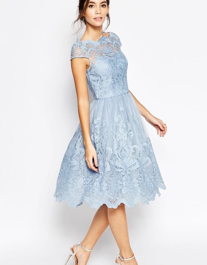 Купить синее платье с пышной юбкой