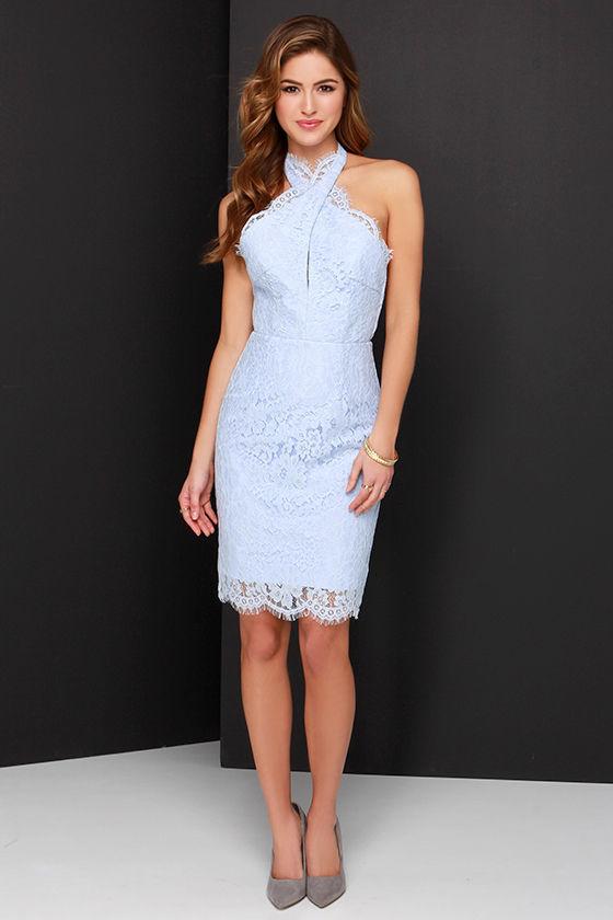 Платье футляр синее кружевное