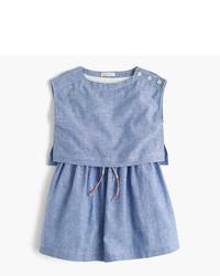 Голубое льняное платье