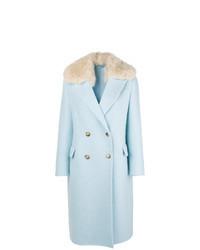 Голубое пальто с меховым воротником