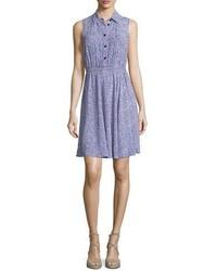 Голубое платье-рубашка с цветочным принтом