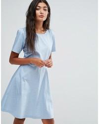 Женское голубое платье с плиссированной юбкой в горошек