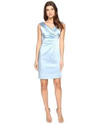 Голубое сатиновое платье-футляр
