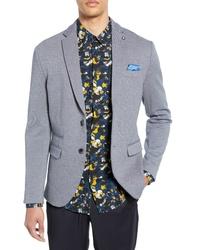 Голубой вязаный пиджак
