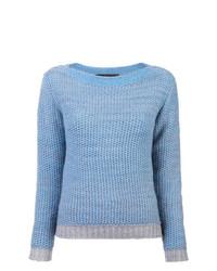 Женский голубой вязаный свитер от The Elder Statesman