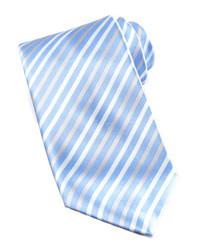Голубой галстук в вертикальную полоску