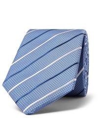 Мужской голубой галстук в горизонтальную полоску от Hugo Boss